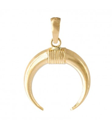 18K crescent gold pendant