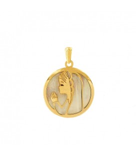 Gold Pendant 18K Virgin Girl and Mother-of-Pearl