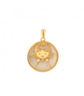 18K Gold Girl and Mother-of-Pearl Pendant