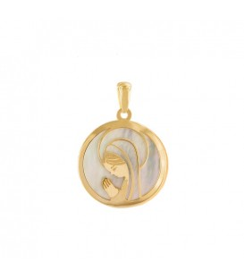 Virgin Girl Of Gold Pendant 18K and Mother-of-Pearl Communion