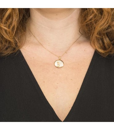 Virgin Girl Gold and Mother-of-Pearl Pendant