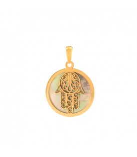 Fatima Hand Pendant in Gold and Mother-of-Pearl