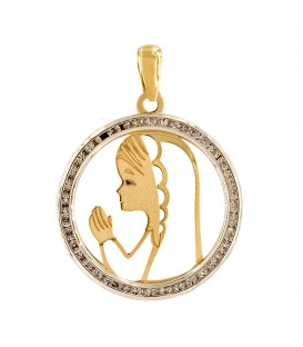 Virgin Girl Gold Pendant 18K Set with Zirconites