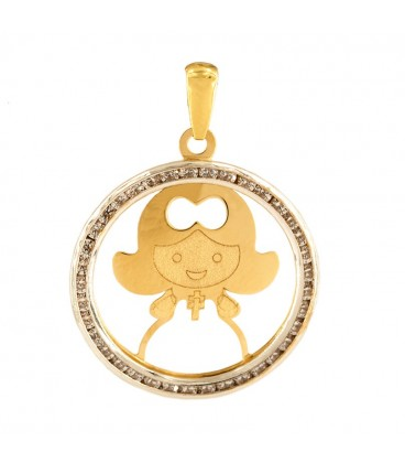18K Gold Girl Communion Pendant with Zirconia