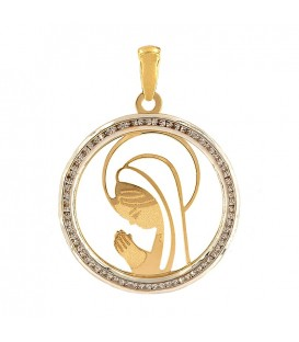 18K Gold Girl Virgin Pendant with Zirconitas