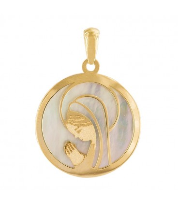 18K Gold Virgin and Mother-of-Pearl Pendant