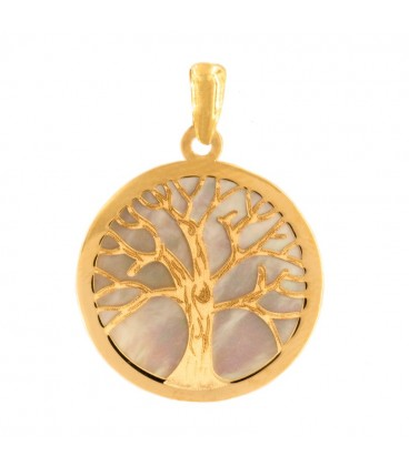 Gold and Mother-of-Pearl Tree of Life Pendant