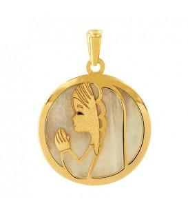 Colgante Virgen niña en Oro 18K y nácar