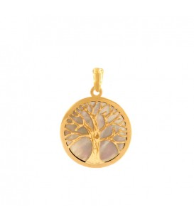 Tree of Life in Small 18K Gold Pendant and Mother-of-Pearl