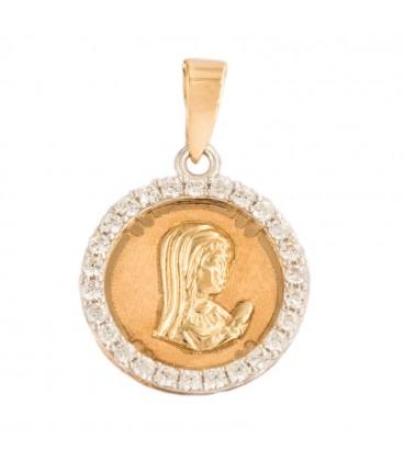 Colgante Virgen niña de Oro Bicolor 18K y circonitas