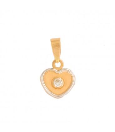 18K Bicolor and Zirconite Gold Heart Pendant