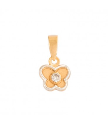 Butterfly Pendant in 18K Bicolor Gold and Zirconite