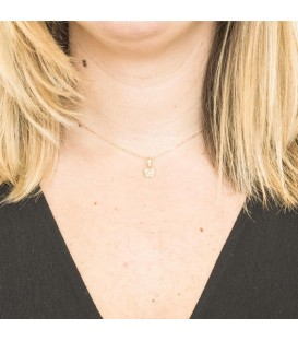 Collier Papillon Or Bicolore 18K Zirconium