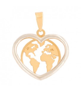 World heart pendant in 18k yellow gold and white gold fence