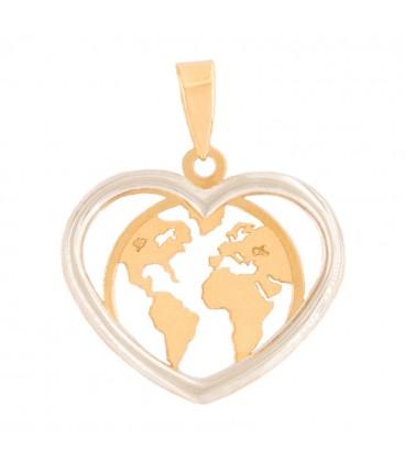 "Collier ""LOVE THE WORLD"" en Or jaune 18K et Or Blanc 18K"