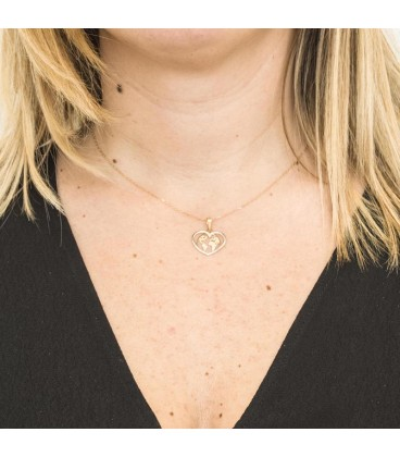 "Collier ""LOVE THE WORLD"" en Or jaune 18K et Or Blanc 18K"