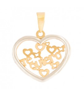 "Collier Coeur ""Te Quiero"" Or jaune 18K et zirconium Or Blanc 18K"