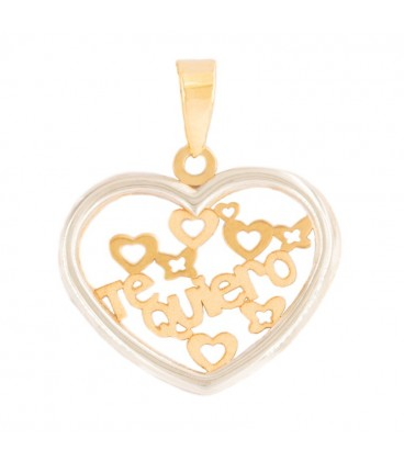 "Heart Pendant ""I Love You"" in 18K Yellow Gold and 18K White Gold Fence"