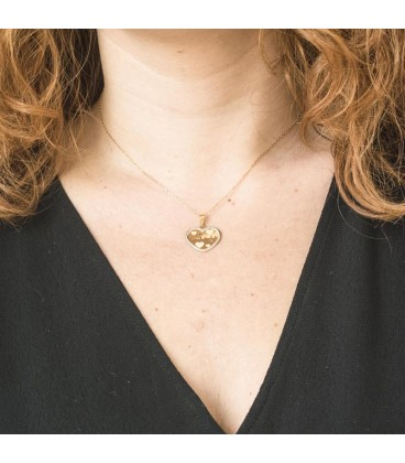 Collier cœur Or Bicolore 18K