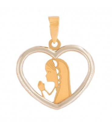 Virgin Heart Girl Pendant in Gold Bicolor 18K