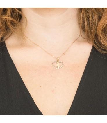 Collier cœur Vierge fille Or Bicolore 18K