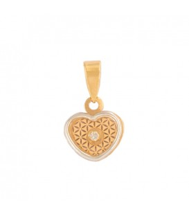 18K Heart of Gold Pendant and 18k White Gold Fence with Zirconite
