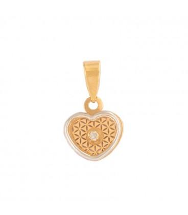 Colgante Corazón de Oro 18K y Cerco de Oro blanco 18k con circonita