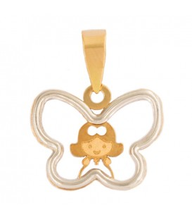 Girl Pendant with Butterfly Fence in 18K Bicolor Gold