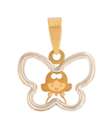 Colgante Niña con cerco Mariposa en Oro bicolor 18K
