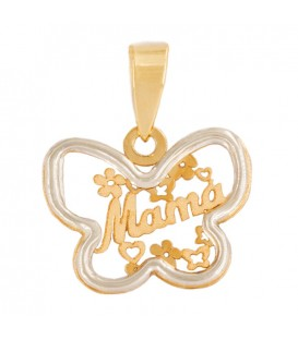 Mom Pendant in 18K Bicolor Gold