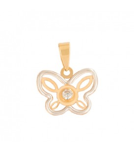 Butterfly Pendant in Bicolor Gold 18K with zirconite