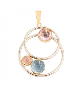 Pendant bicolor dials in 18K gold