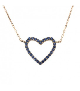 18K Gold Heart Necklace with sapphire-colored zirconia