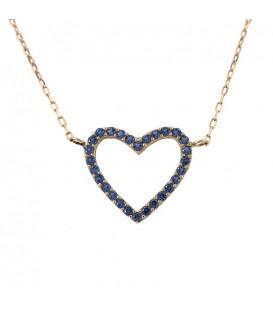 Collier ras du cou coeur Or 18K zirconium couleur saphir