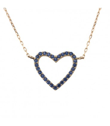 18K Gold Heart Choker with sapphire-colored zirconia
