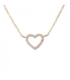 18K Gold Heart Choker with zirconia