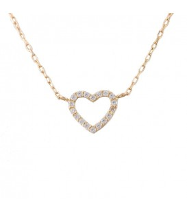18K Gold Heart Necklace with zirconia