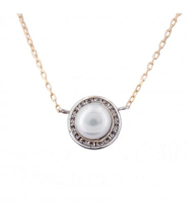 Collier ras du cou Natural Pearl Or Blanc 18K