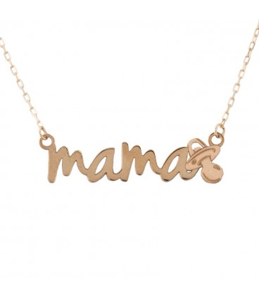 Mom necklace with 18K Gold Pacifier