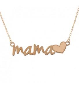 18K Gold Hearted Mom Choker