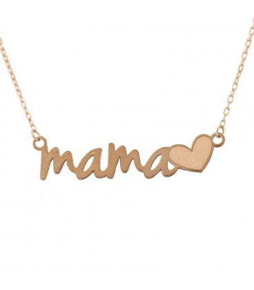 Gargantilla Mamá con corazón en Oro 18K