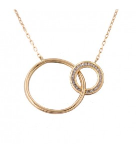 Double Circle Necklace in 18K Gold