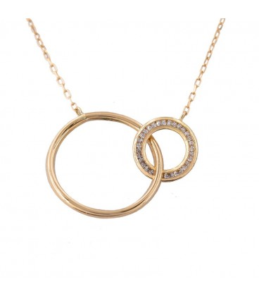 Double Circle necklace in Gold 18K