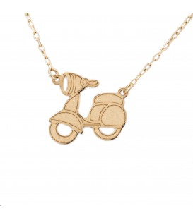 Gold motorcycle necklace