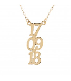 Custom Vertical Date Necklace in 18K Gold