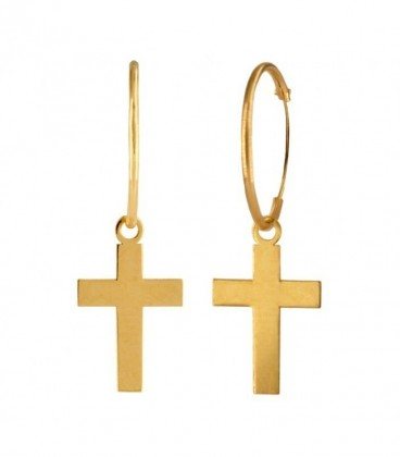 18K Gold Hoop Earrings with Large Cross