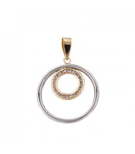 Circular Pendant in Bicolor Gold 18K