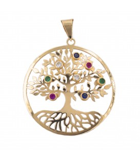 Big Tree of Life Pendant in 18K Gold with Colorful Zirconia