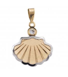 Saint James Bicolor 18K and Zirconite Shell Pendant