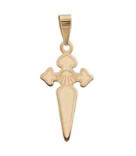 Saint James Satin Gold Cross Pendant 18K